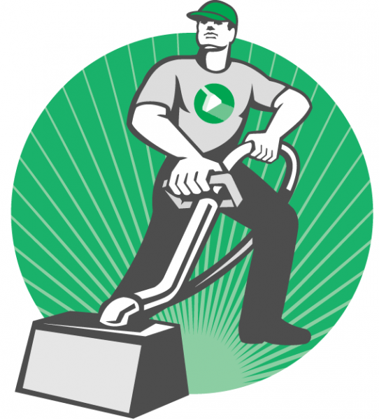 Retro-style graphic of a professional carpet cleaner